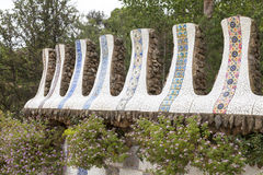 Details of  ceramic Gaudi  mosaic  in Park Guell, Barcelona , Spain.  Stock Photos