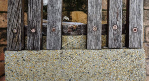 Details of chair with stone and wood Stock Image