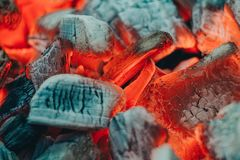 Details of charcoal for barbecue at picnic stock images