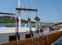 Details of a charter sail vessel Royalty Free Stock Images