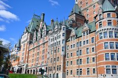 Chateau Frontenac, Quebec City, Canada. Details of Chateau Frontenac, dominate the skyline of Quebec City, a French-style castle hotel builded in 1893, landmark stock image