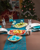 Details of Christmas decoration of table for dinner Stock Images