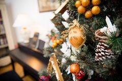 Details from a Christmas tree stock image