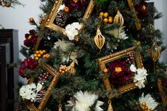 Details from a Christmas tree stock photo