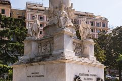 The details of Christopher Columbus Monument in Genoa, Italy, Europe royalty free stock photos