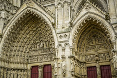 Details of church door from amiens, france Stock Images