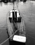 Details of a classic beautiful handcraft wooden sailing yacht Stock Photography