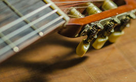 Details of the classical guitar. Royalty Free Stock Images