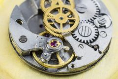 Details of clock of wrist watches by close up. Old clock of wrist watches by close up royalty free stock images