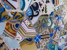 Details of a Colorful Ceramic Bench at Park Guell Designed by Antoni Gaudi, Barcelona, Spain. stock photos