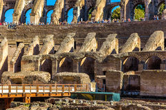 Details of Colosseum or Flavian Amphitheatre in Rome Stock Images