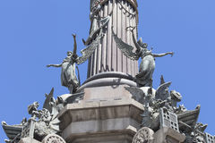 Details of Columbus Monument, Barcelona, Spain. Stock Images