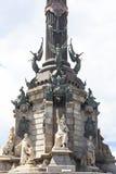 Details of Columbus Monument, Barcelona, Spain. Stock Photos