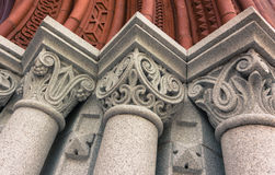 Details of columns at entrance to Williams Hall at University of Vermont Royalty Free Stock Images