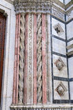 Details of the columns in marble on the facade of the  Siena Baptistery Stock Image