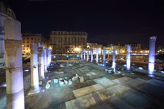 Details columns of Trajan Forum at night Stock Image