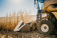 Details of combine harvester working in the fields. Agriculture Farmer working with machinery stock photography