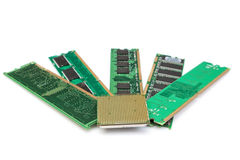 Details of computer memory ram and CPU of the old generation. On a white background Stock Images