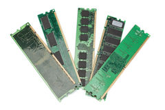 Details of the computer memory ram of the old generation. On a white background Royalty Free Stock Images