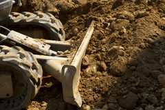 Details of a construction site with a bulldozer. Detail of a scraper earthmoving Royalty Free Stock Images