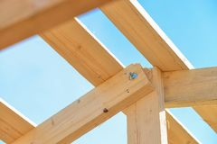 Details of construction wooden roof, roofing timber structure system. stock photos