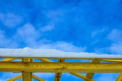 Details of construction wooden roof, roofing timber structure system stock photo