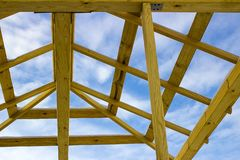 Details of construction wooden roof, roofing timber structure system stock images