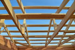 Details of construction wooden roof, roofing timber structure system. Stock Images