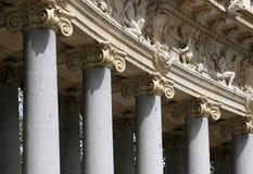 Details of corinthian columns. Corinthian columns in Park Retiro, Madrid, Spain Stock Images