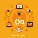 Details For 3d Printer On Orange Background. Printing details on orange background design concept with decorative icons showing equipment and different nozzles Stock Image