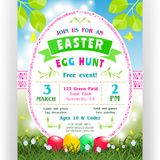 Easter egg hunt announcing poster template with text customized for invitation. With details about the date, time, location. Four colorful eggs at green lawn Royalty Free Stock Images