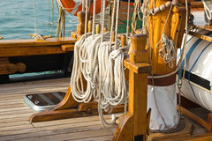 Details of a deck. Deck details of a sailing boat royalty free stock images
