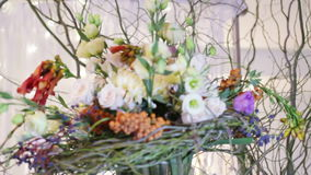 Details decor wedding bouquet stock video footage