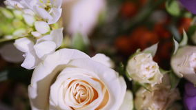 Details decor wedding table with flowers stock video