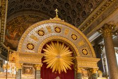 Details of decoration of the altar of the cathedral. RUSSIA, SAINT PETERSBURG - AUGUST 18, 2017: interior of the Kazan Cathedral or Kazanskiy Kafedralniy Sobor Royalty Free Stock Photos