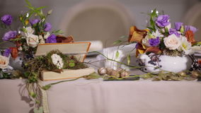 Details decoration table with flowers stock footage