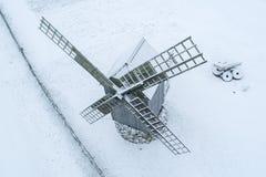 Details der alten historischen Windmühle in Angla Saaremaa Estland stockfotografie