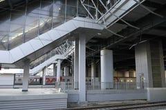 Details der Architektur des Bahnhofs Adler, Russland Lizenzfreies Stockbild
