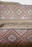 Details der geschnitzten Wand an archäologischer Fundstätte Huaca De-La Lunas - Trujillo, Peru Lizenzfreies Stockbild
