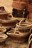 Details der Herstellung der Weidenkörbe Stockfotografie