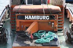 Details des alten deutschen Bootes mit einem Titel Stockbild