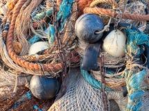Details des bunten Fischereigeräts Stockbilder