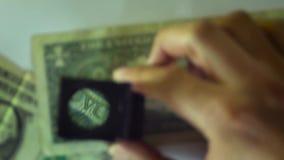 Details des Dollarscheins stock footage
