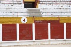 Details des Innenraums der Stierkampfarena von Guadalajara, Spanien stockfoto