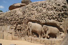 Details of Descent of the Ganges in Mahabalipuram, India Stock Image