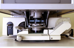 De lezer van de microfiche in close-up Stock Afbeelding