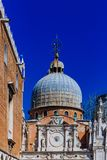 Details of the Doge`s Palace and the dome of the St. Mark`s Basi royalty free stock images