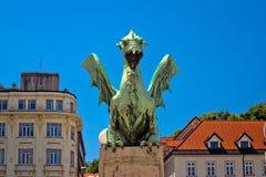 Details of Dragon bridge of Ljubljana Stock Photo