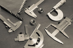 Details, drills and measuring tools Royalty Free Stock Photo
