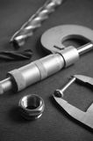 Details, drills and measuring tools. A close up Royalty Free Stock Images
